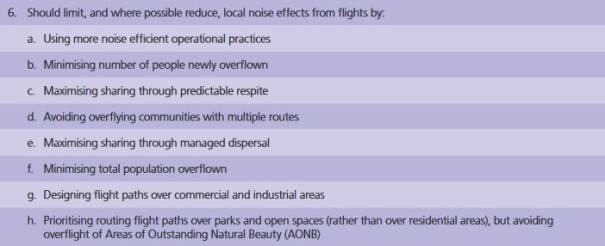 Should limit, and where possible reduce, local noise effects from flights by: Minimising number of people newly overflown